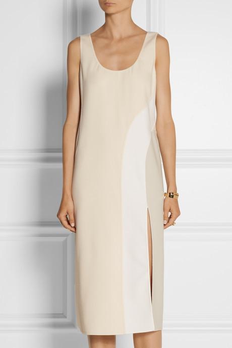Marc Jacobs Color-block stretch wool-blend midi dress