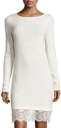 Neiman Marcus Cashmere Boat-Neck Lace-Hem Sweater Dress, Ivory $169 thestylecure.com