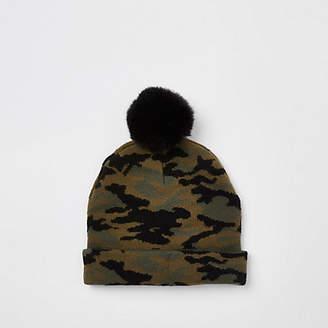 River Island Mini boys khaki faux fur camo beanie hat