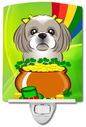 Shih Caroline's Treasures Gray Silver Tzu St. Patrick's Day Ceramic Night Light