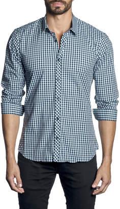 Jared Lang Men's Semi-Fitted Check Sport Shirt, Dark Blue