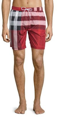 Burberry Check-Print Swim Trunks, Red $295 thestylecure.com