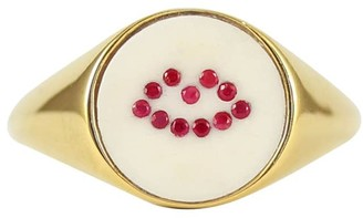 Lee Renee Ruby Lip Signet Ring