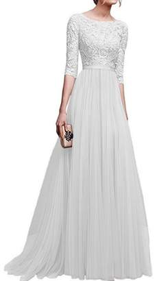 IBTOM CASTLE Women's Tulle Floral Lace Bridesmaid Long Dress Prom Evening Cocktail 3/4 Sleeves Floor Length Retro Vintage Formal Maxi Gowns XL