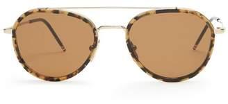Thom Browne Tokyo Aviator Sunglasses - Mens - Brown Multi
