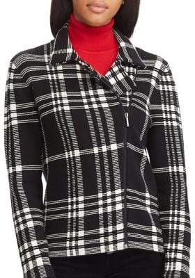 Chaps Petite Plaid Asymmetrical Zip Jacket