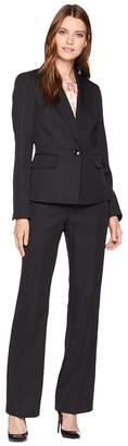 Le Suit Pinstripe One-Button Shawl Collar Pants Suit w/ Cami Women's Suits Sets