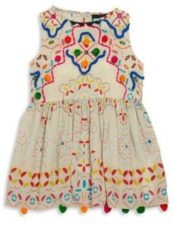 Hemant & Nandita Toddler's, Little Girl's & Girl's Multi Pom Dress $195 thestylecure.com