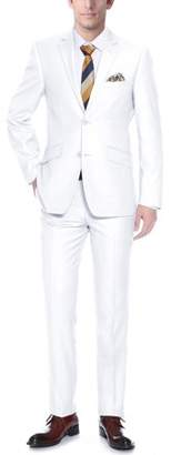 Verno Two Piece Slim Fit Men's White Tuxedo with Two Button Notch Collar and Ribbon Finish