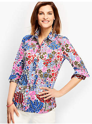 Talbots The Classic Cotton Shirt - Forest Print