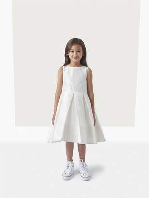 Oscar de la Renta Taffeta Box Pleat Flower Girl Dress with Cape
