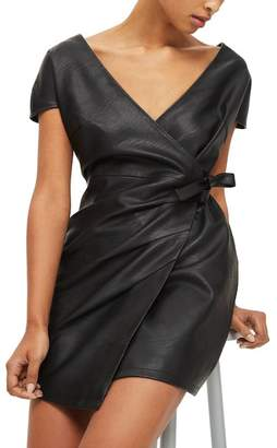 Topshop Faux Leather Wrap Dress