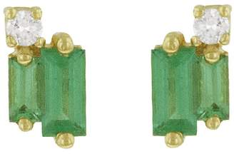 Suzanne Kalan Diamond and Emerald Baguette Stud Earrings - Yellow Gold