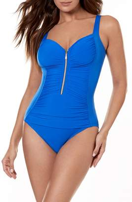 Miraclesuit R) So Riche Zip Code One-Piece Swimsuit