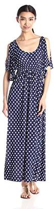 Star Vixen Women's Slit Flutter Sleeve Maxi Dress with Empire Drawstring Waist