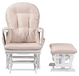 Kub Haywood Reclining Glider Nursing Chair and Footstool, White