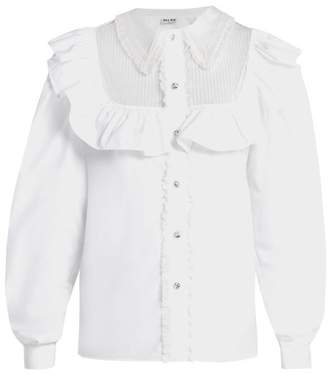 Miu Miu Tie Waist Ruffled Cotton Blouse - Womens - White