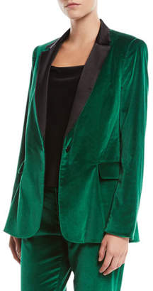 Alice + Olivia Macey One-Button Fitted Velvet Tuxedo Blazer
