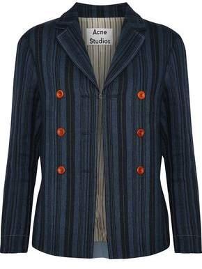 Acne Studios Jilva Button-Embellished Striped Wool Linen And Cotton-Blend Jacket