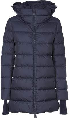 Herno Blue Down Jacket With Knitted Details