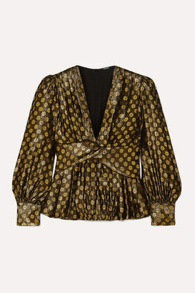 Dodo Bar Or Malenia Metallic Floral-jacquard Silk-blend Blouse - Gold