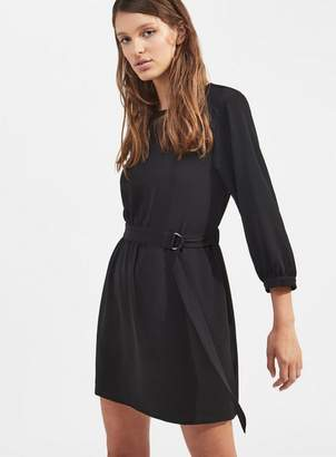 Miss Selfridge Black d-ring button skater dress