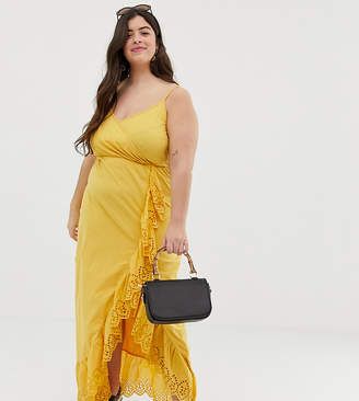 Asos DESIGN Curve broderie trim wrap maxi dress