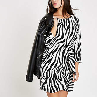 River Island White zebra print tie front mini dress