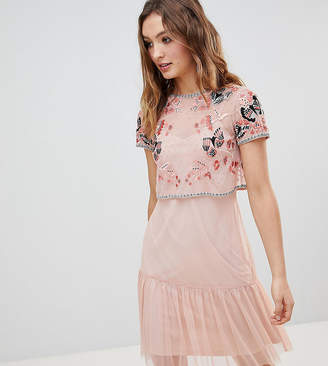 Frock and Frill Frock And Frill Premium Embellished Top Drop Hem Skater Dress