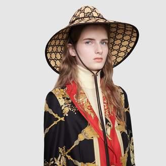 Gucci GG raffia wide brim hat