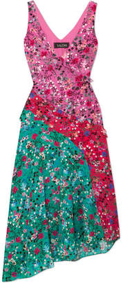 Saloni Aggie Ruffled Floral-print Silk Midi Dress - Turquoise