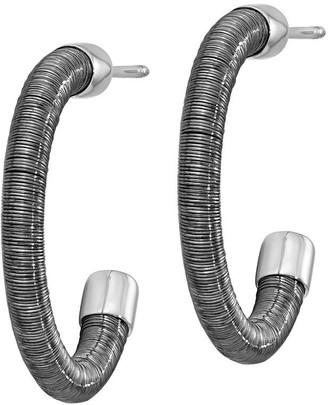 Italian Silver & Wire-Wrapped Demi Hoop Earrings, Sterling