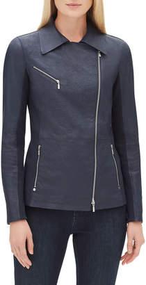 Lafayette 148 New York Elwood Zip-Front Weathered Lambskin Leather Moto Jacket w/ Ponte Combo