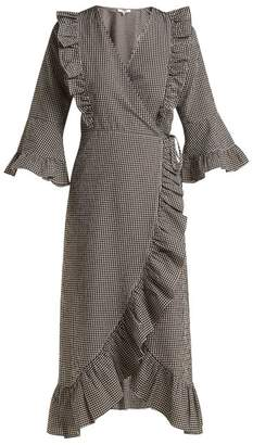 Ganni Charron Gingham Cotton Blend Wrap Dress - Womens - Brown