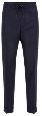 BOSS Hugo Relaxed-fit pants in mixed wool turn-ups 34R Open Blue