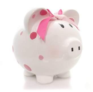 "Child to Cherish 7.5"" Pink Multi Dot Bank Bow Save Money Girl"