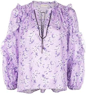 Ulla Johnson floral tie neck blouse
