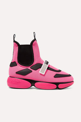 Prada Cloudbust Logo-embossed Rubber-trimmed Mesh High-top Sneakers - Pink