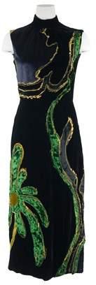 Prada Womens Black Floral Embroidered Velvet Sleeveless Dress.