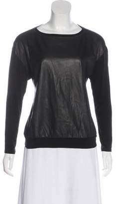 Alice + Olivia Long Sleeve Leather Top Black Long Sleeve Leather Top
