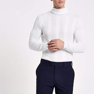 River Island White turtle neck muscle fit sweater