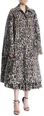 Calvin Klein Oversized Leopard-Print Faille Swing Midi Coat