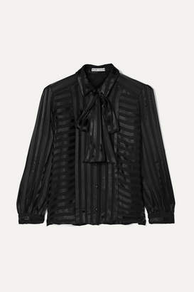 Alice + Olivia Alice Olivia - Willis Pussy-bow Striped Jacquard Blouse - Black