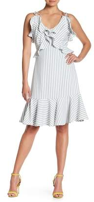 Alton Gray Stripe Ruffled Crepe Dress