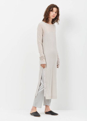 Yohji Yamamoto beige dot button ls dress $660 thestylecure.com