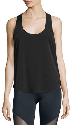 Onzie Elastic-Back Sleeveless Sport Tank, Black/White
