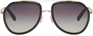 Dolce & Gabbana Black & Gold Double Bridge Sunglasses $270 thestylecure.com