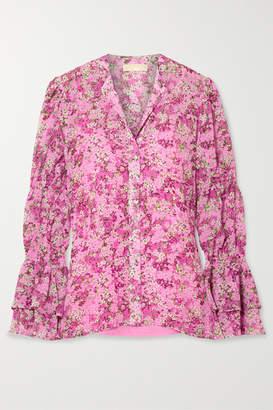 MICHAEL Michael Kors Smocked Floral-print Chiffon Blouse - Pink