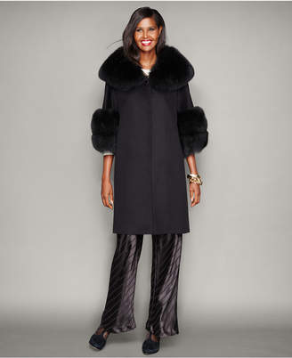 The Fur Vault Fox-Fur-Trim Wool Walker Coat