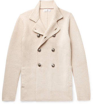 Brunello Cucinelli Double-Breasted Ribbed Virgin Wool, Cashmere and Silk-Blend Cardigan - Men - Cream